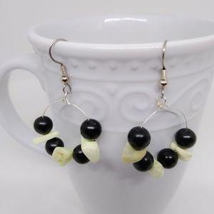 Black and White Gemstone Hoop earrings